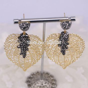 3Pairs Hollow Maple Leaf Dangle Earrings with Sparking Rhinestones gold Color Women Jewelry Earring ZYZ160-8462