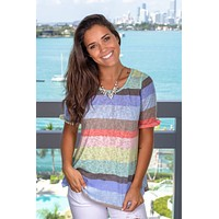 Multi Colored Striped Top with Short Sleeves