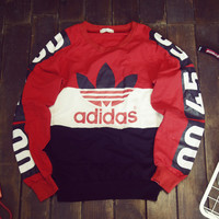 Love-Q168 ADIDAS Contrast color restoring ancient ways splicing sets sports lovers round collar fleece