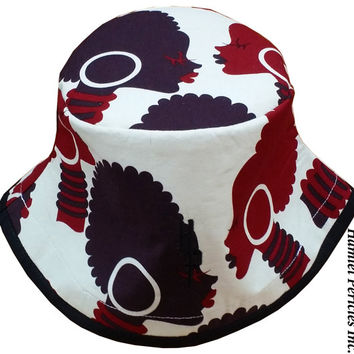 African-Queen Tribal Bucket Hat | Afro | Afrocentric Hat | Natural Hair Hat | African Silhouette | Brown & Burgundy Hat by Hamlet Pericles