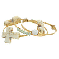 Stone Cross Bangle Set