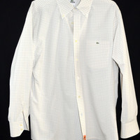 Lacoste 42 Mens Dress Shirt Button Collar Large
