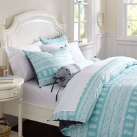 Serena Blockprint Stripe Duvet Cover  Sham