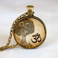 Namaste Necklace , Om Yoga Jewelry , Zen Tree Pendant (PD0)