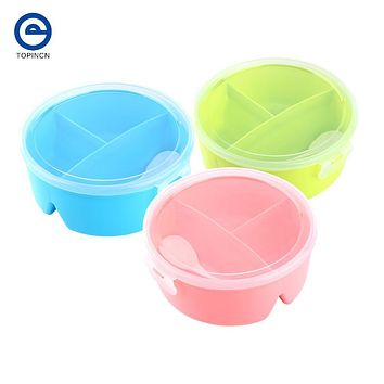Round Shape Lunch Box Food-Grade Plastic Food Storage Container Picnic Lunch Box With Spoon Microwave Cutlery Set Random Color