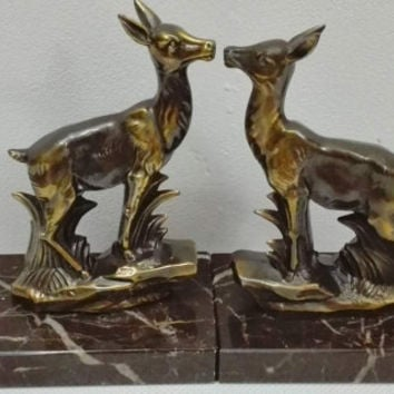 French bookends patterns Deers, marble and brass.