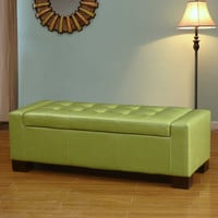 Furnistars Green Bonded Leather Tufted Accents Rectangular Storage Bench Ottoman Footstool -  !