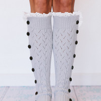 Light Grey Button Down Leg Warmers Boot Socks Lacy Knitted LegWarmers with Crochet Lace Trim