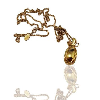 Joan Rivers Necklace , Gold Tone Etched Classic Egg Charm , Designer Signed