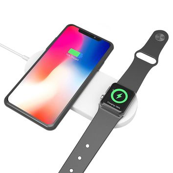 Watch Wireless Charger 2 in 1 Mini AirPower Wireless Charger For Cell Phones Bluetooth Watch By LUD | Quick Wireless Charging Pad Dock For Smart Cell Phones