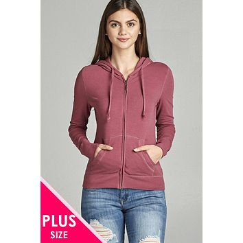 Womens Plus Size Full Zip-Up Hoodie w/long Sleeves and Lined Drawstring Hood (b)