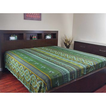 Handmade 100% Cotton Kalamkari Bedspread Coverlet Bed Sheet Throw Tapestry Tablecloth Green Blue Full 88x106 Inches