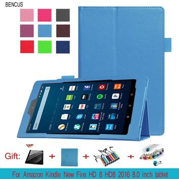 BENCUS For Amazon Kindle New Fire HD 8 HD8 2016 8.0 inch tablet Leather Case, Ultra Thin Folio PU Leather Stand Book Cover