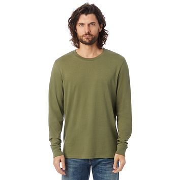 Alternative Apparel - The Outsider Heavy Wash Jersey Long Sleeve Army Green T-shirt