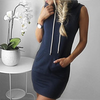 Summer Sport Dress Women's Slim Hooded Pullover Summer Beach Short Mini Dress