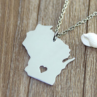 I heart Wisconsin Necklace - Wisconsin Pendant - State Necklace - State Charm - Map necklace - Map Jewelry