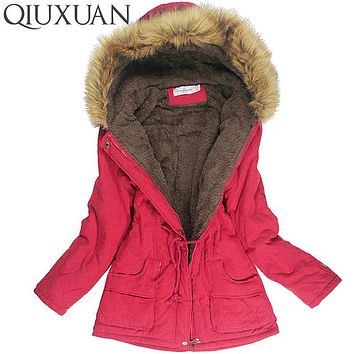 Women Faux Fur Collar  Hooded Jacket