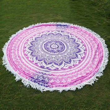 ESBU3C Round Indian Mandala Tapestry Printed Hippie Wall Hanging Boho Beach Throw Towel Yoga Mat Bed Sheet Tablecloth Home Decor
