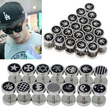 2Pcs/Lot Punk Gothic Stainless Steel Round Plain Men Fake Cheater Ear Plugs Stretcher Gauge Illusion Body Pierceing Jewelry