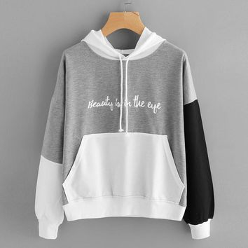 Tops Womens 2017 Autumn Winter Letters Print Long Sleeve Hoodie Sweatshirt Femme Hooded Pullover Women Camisas y Sudaderas #920