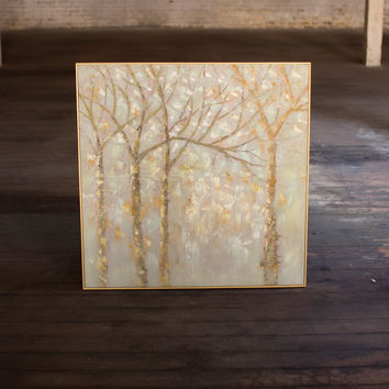 Oil Painting- Winter Trees with Gold Frames