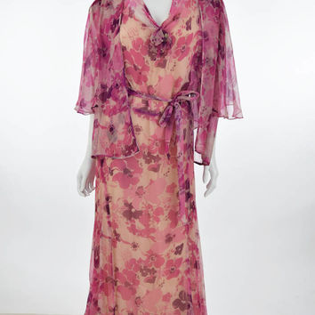 30s Floral Silk Chiffon Garden Party Dress-XL