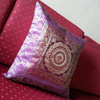 Magenta Indian Brocade Decorative Throw Pillow 17x17,Indian Cushion Cover with Indian Motifs of Brocade Indian Sari Patchwork,Home Decor