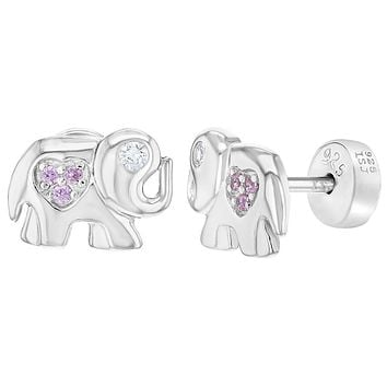 925 Sterling Silver Pink CZ Good Luck Elephant Stud Safety Heart Earrings Girls