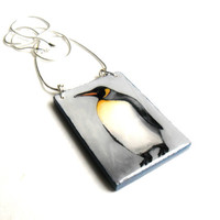 Emperor Penguin Necklace, Penguin Pendant Hand Painted Penguin Jewelry, Animal Jewelry Lightweight Painted Wooden Jewerly Statement Necklace