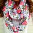 Bloom Floral Infinity Scarf in White, Olive and Pink