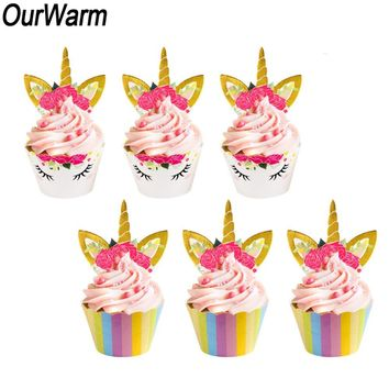 OurWarm 48Pcs Rainbow Unicorn Cake Toppers Cupcake Wrappers Baby Shower Boy Girl Unicorn Birthday Party Decorations Kids Favors