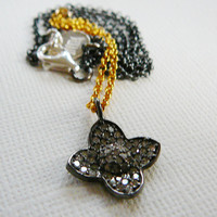 "Diamond Pendant Necklace, Oxidized Sterling Silver 16"", 22kt Vermeil, Genuine Diamonds, Antiqued"