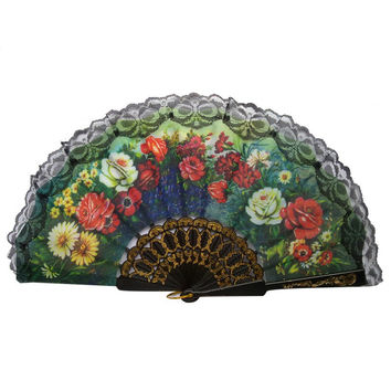 Lace Edge Multi-Colors Spanish Style Hand Held Fabric Fans Floral Print Fan