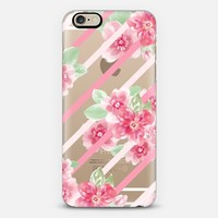 Summer Blossoms Diagonal Stripes (transparent) iPhone 6 case by Lisa Argyropoulos | Casetify