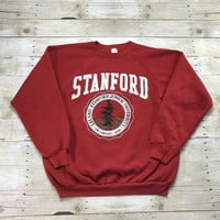 Vintage 1980s Stanford Leland Junior University Red Crewneck Sweatshirt Made in USA Mens Size XL