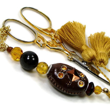 Beaded Scissor Fob, Quilting, Sewing, Cross Stitch, Golden Yellow, Brown, DIY Crafts, TJBdesigns