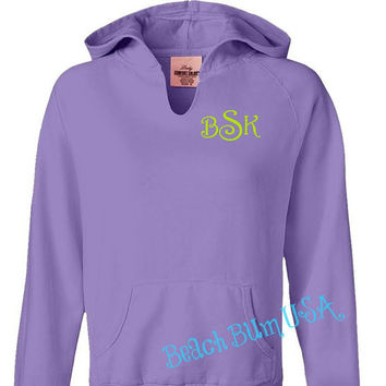Monogrammed Hoodie Sweatshirt Violet Purple Size Small, Medium, Large,  XL, 2XL Personalized Christmas Gift Under 50 Dollars