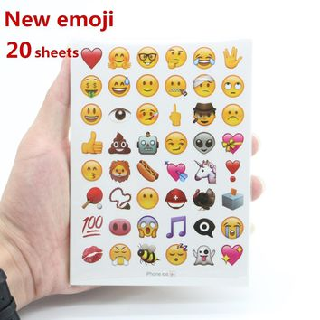 New mixed 20sheets emoji stickers 960 stickers  iphone emoticon Cute sticker for notebook fun message Vinyl*funny*creative