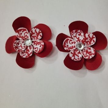 Girls Small Double Layered Flower Hair Clips