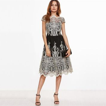 Contrast Fit and Flare Embroidered Cap Sleeve Knee Length Mesh Dress