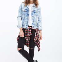 FOREVER 21 Bleached Denim Jacket Denim Washed