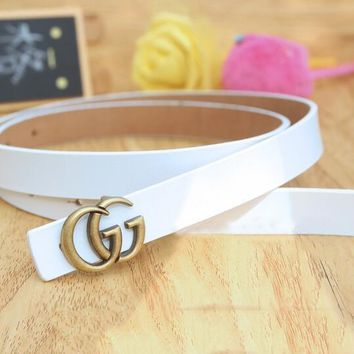 "Hot Sale ""GUCCI"" Fashionable Woman Men Casual Smooth Buckle Leather Belt White"