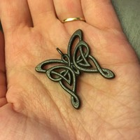Celtic butterfly pendant by emerald_of_oz on Shapeways