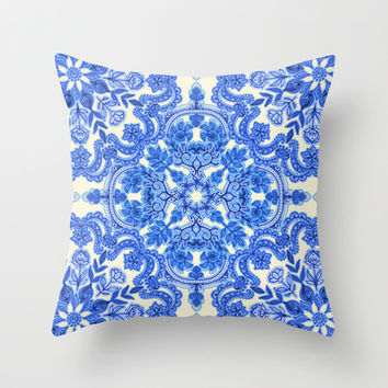 Cobalt Blue & China White Folk Art Pattern Throw Pillow by micklyn