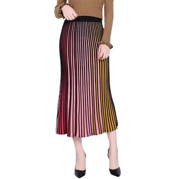 Elastic High Waist Progressive Rainbow Color Striped Knitted Skirt Autumn Women Fashion Elegant Soft Splicing Female Maxi Skirts