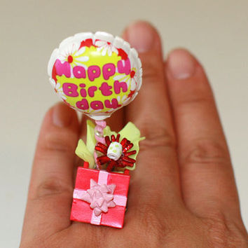 Kawaii Cute Miniature Food Ring - Happy Birthday Present