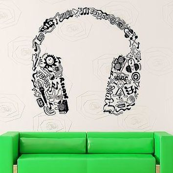 Wall Stickers Vinyl Decal Headphones Music Pop Rock Jazz Entertainment  Unique Gift (z2188)
