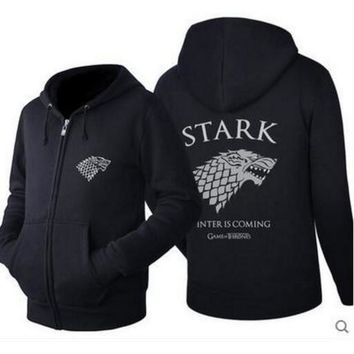 A Song of Ice and Fire hoodie fleece thick A Game of Thrones Stark Winter is Comming Cosplay costume Jacket coat