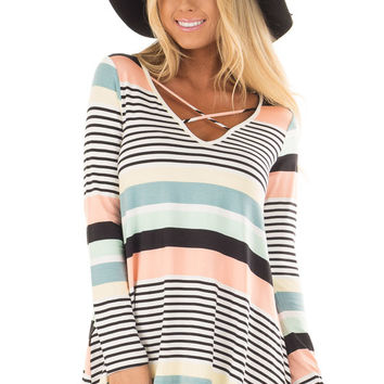 Multi Color Striped Top with Criss Cross Neckline
