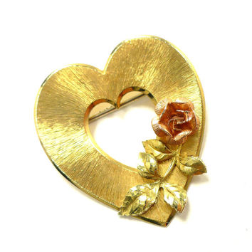 KREMENTZ Heart Brooch, Gold Heart with 3D Rose in Rose Gold, Gold Roses, Bridal Veil Wedding Gown Sash, Valentines Day, Gift For Her